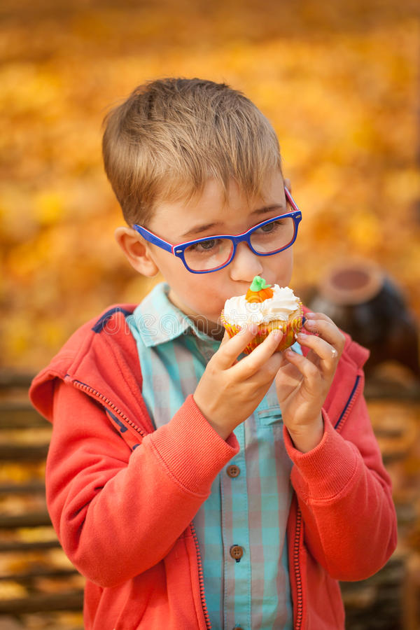 Young boy eating sweet cupcake in autumn park royalty free stock photos