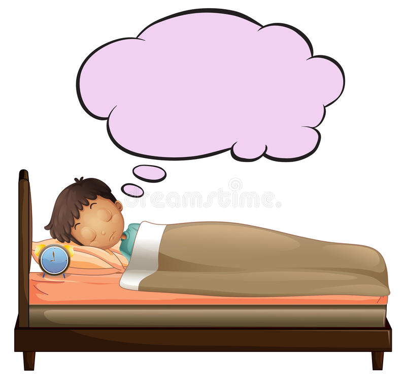 A Young Boy With An Empty Thought While Sleeping Royalty Free Stock Photography