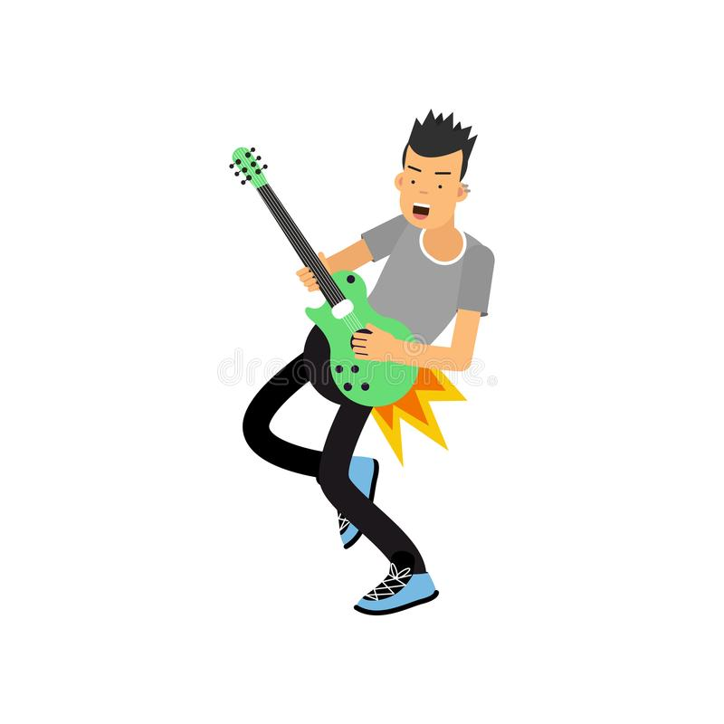 Young boy enjoys playing electric guitar. Rock music guitar player. Cartoon flat style vector illustration isolated on royalty free illustration