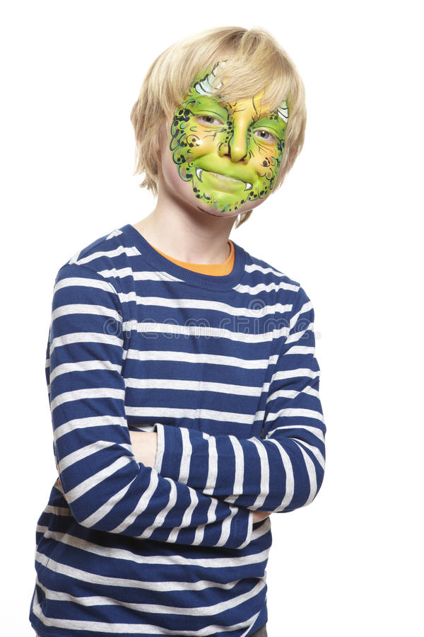 Download Young Boy With Face Painting Monster Stock Image - Image: 28693683