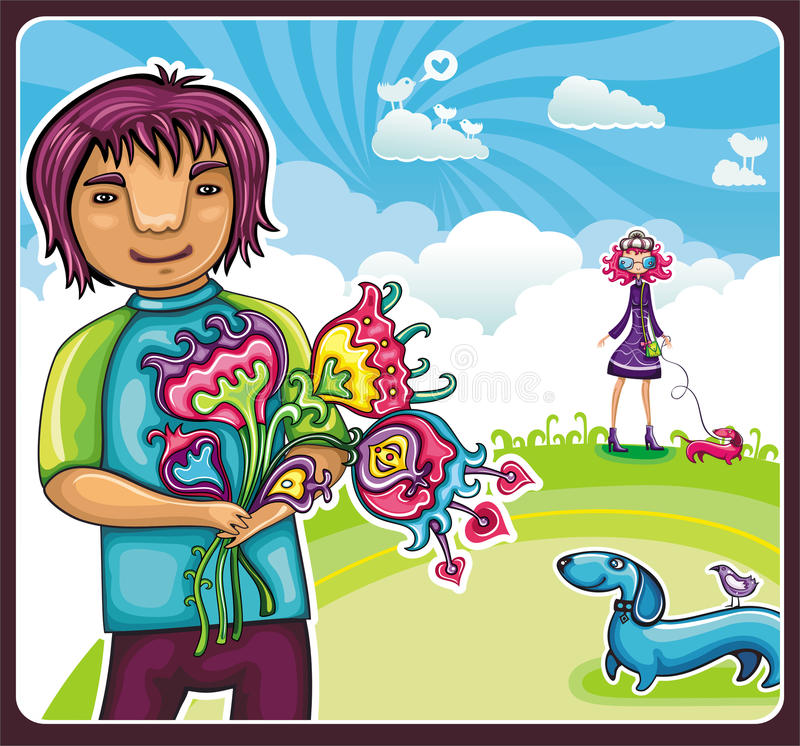 Download Young boy with flowers stock vector. Image of animal - 14577540