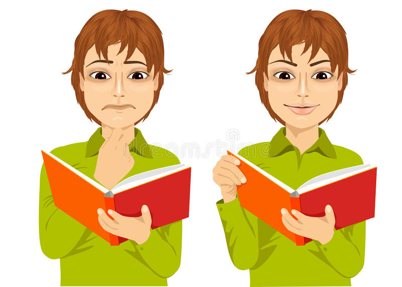 Young boy focused reading interesting book. Portrait of young boy focused reading interesting book with hand on chin and smiling royalty free illustration