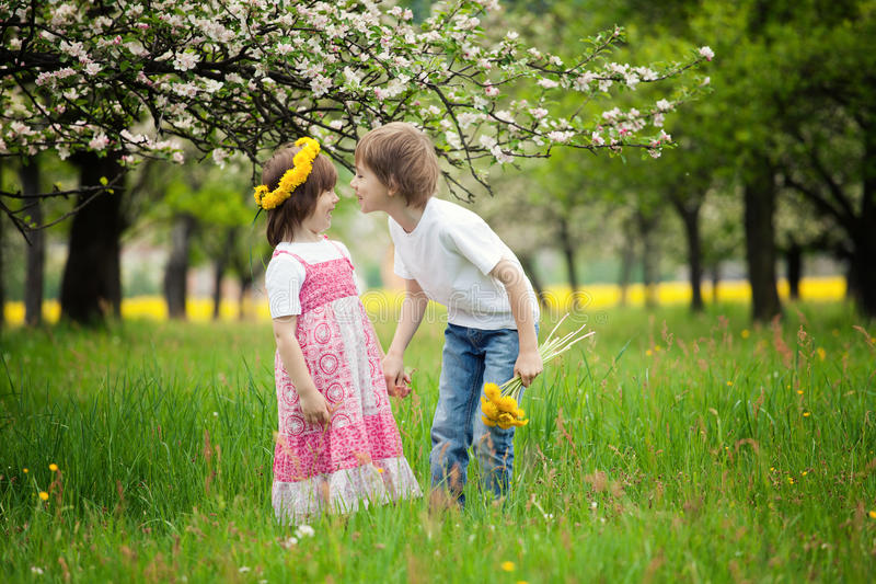 Young boy and girl in grass. Young boy and girl or siblings standing in bright green grassy field stock image