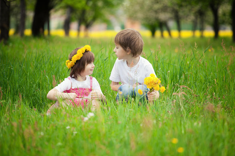 Young boy and girl in grass. Young boy and girl or siblings sitting in bright green grassy field stock images