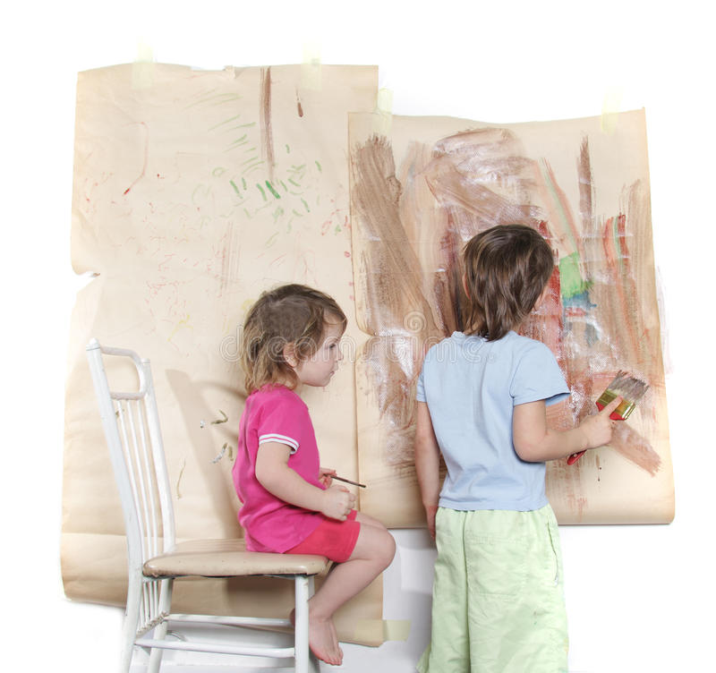 Young Boy And Girl Painting Royalty Free Stock Image