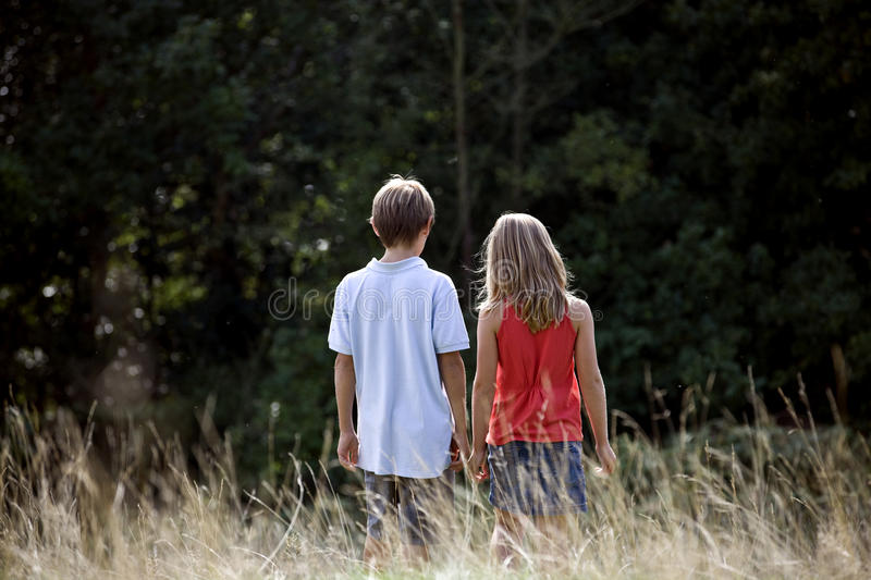 A young boy and girl walking through a field, rear view royalty free stock image