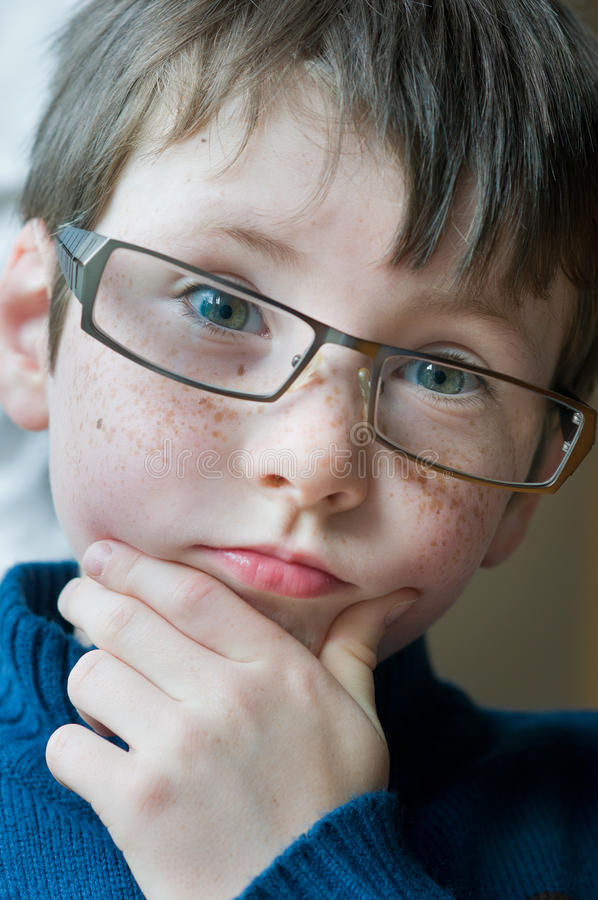 Young Boy With Glasses Stock Photo Image Of Green Eyes