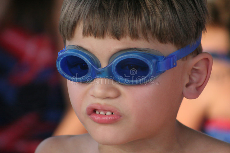 Young Boy With Goggles To Swim Stock Photo Image Of