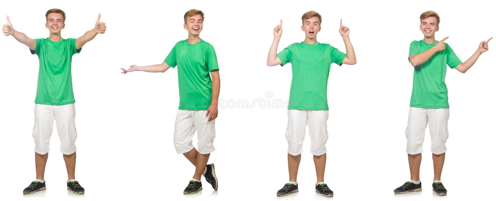 Young boy in green t-shirt isolated on white stock photography