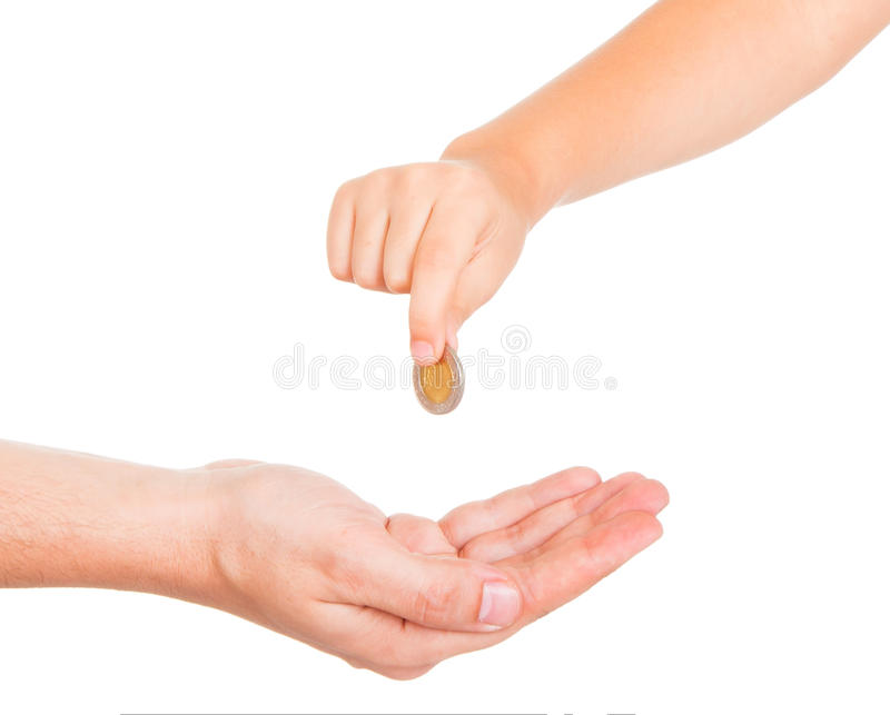 Young boy hand giving a charity stock image