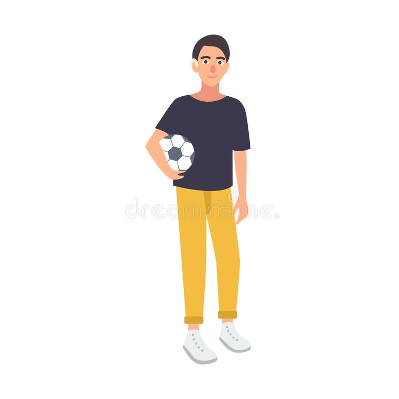 Young boy with hearing impairment holding soccer ball isolated on white background. Deaf footballer or teenage football vector illustration