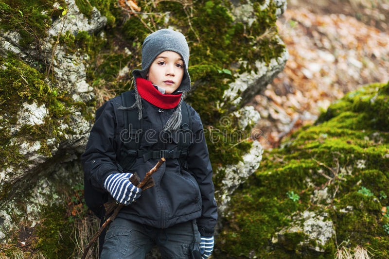 Young boy hiking royalty free stock photos