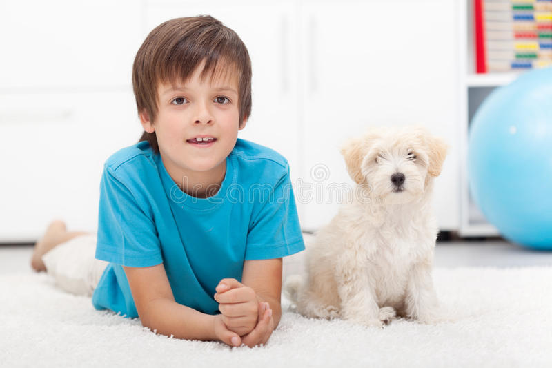 Download Young Boy And His Good Behaving Doggy Stock Image - Image: 25936749