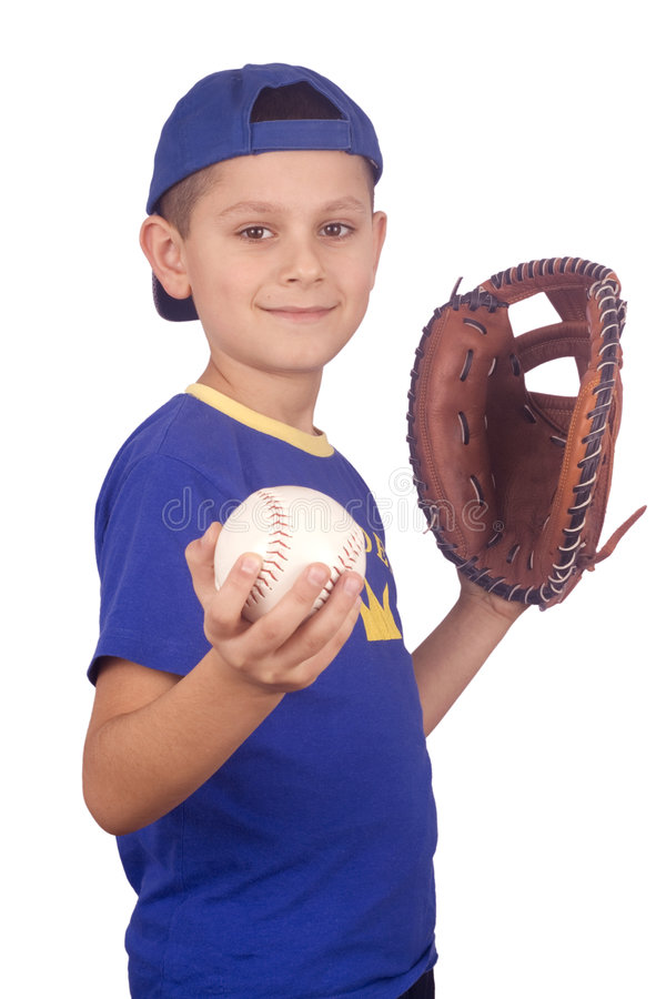 Young boy holding ball and mitt stock image