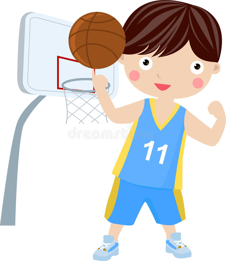 Young boy holding basketball wearing sports unifor royalty free illustration