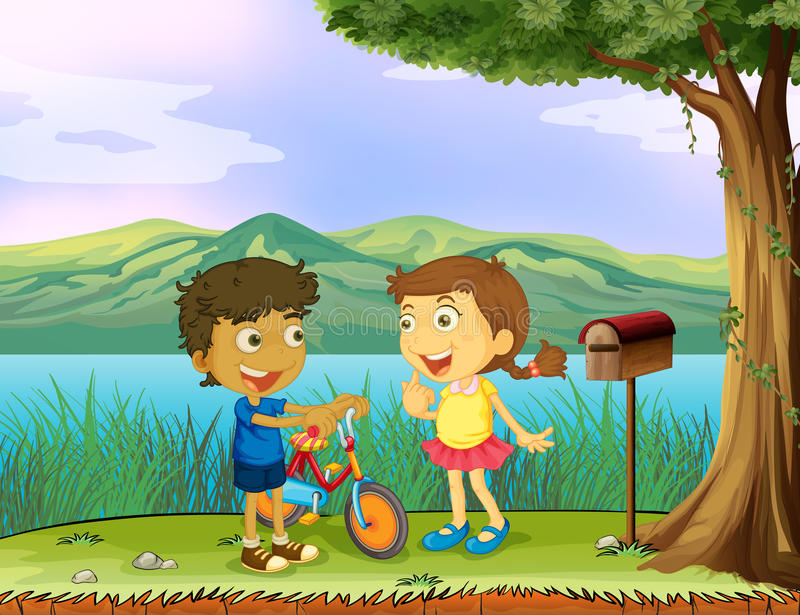 A young boy holding a bike and a girl near a wooden mailbox stock illustration
