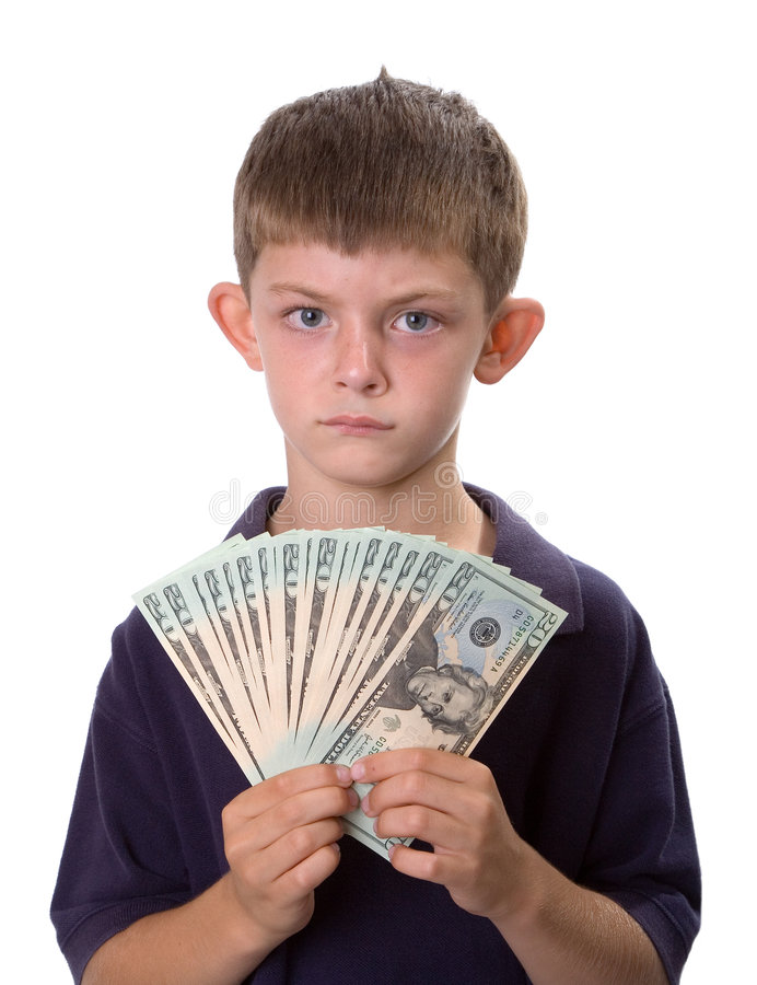 Young Boy Holding Cash Money With Serious Look stock photos
