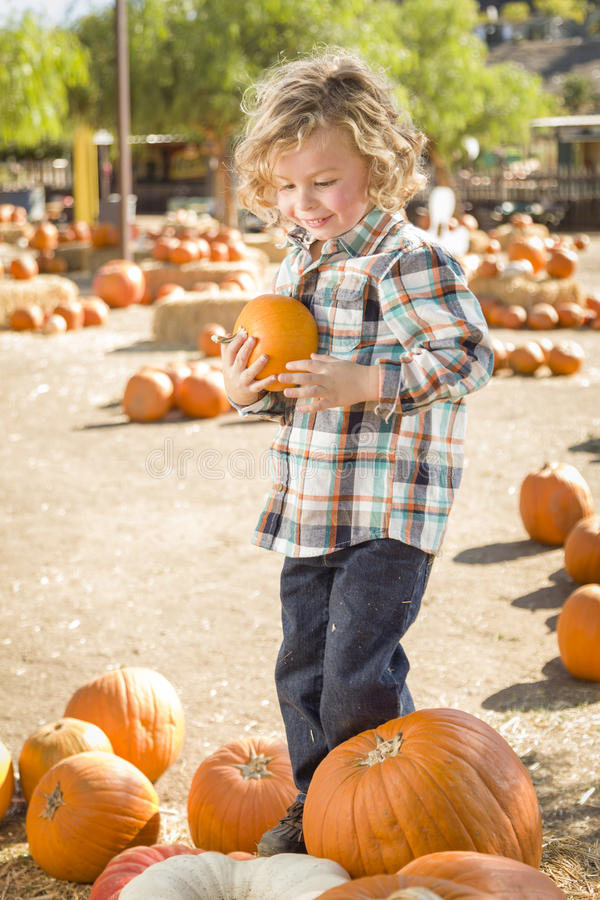 Young Boy Holding His Pumpkin At A Pumpkin Patch Stock Images