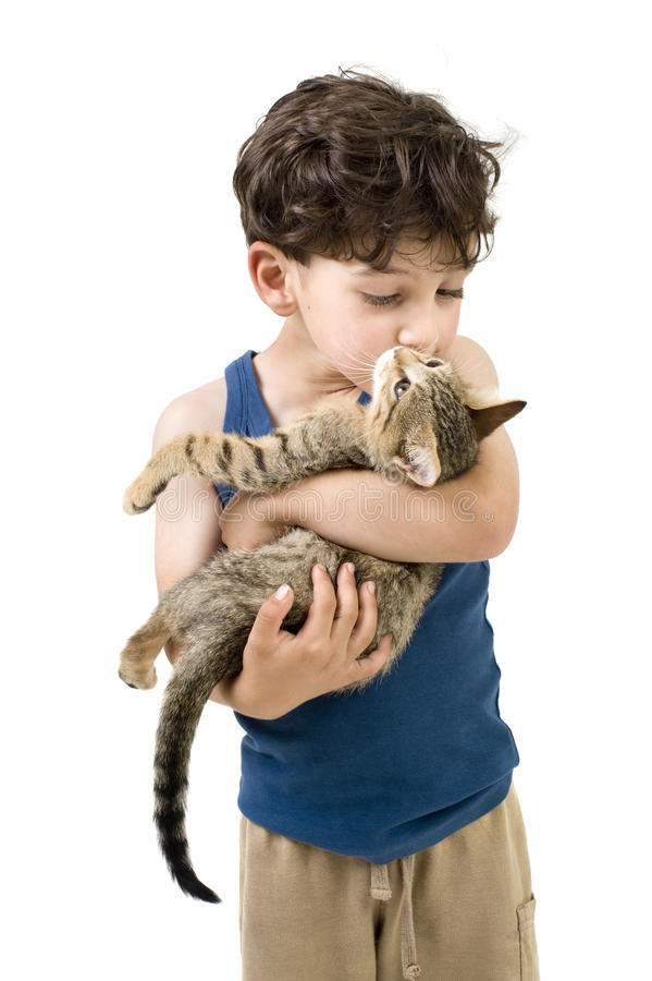 Download Young boy holding kitten stock photo. Image of down, pets - 14754354
