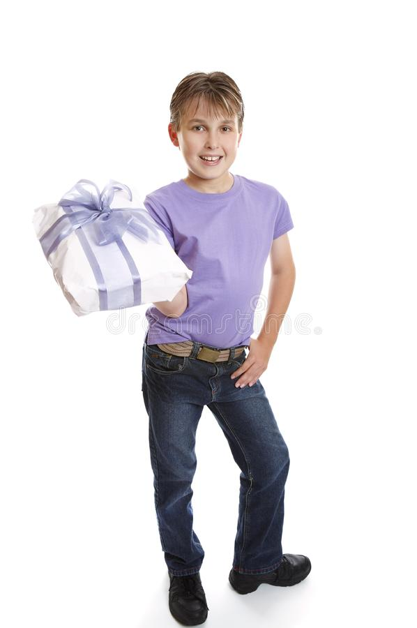 Download Young boy holding present stock photo. Image of holding - 8973240
