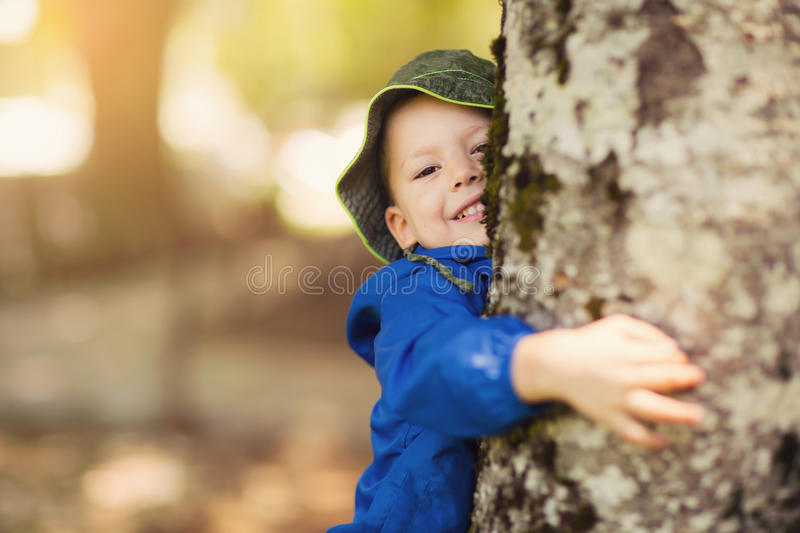 Young boy hugging a tree royalty free stock images