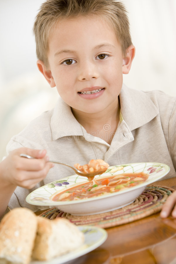 Download Young Boy Indoors Eating Soup Stock Image - Image: 5939367