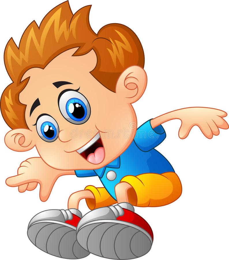 Young boy jumping stock illustration