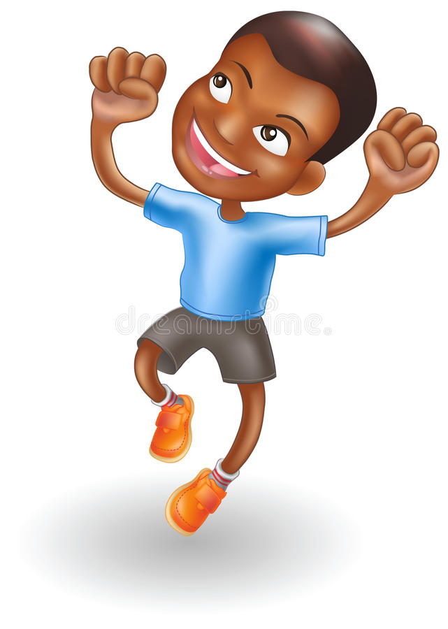 Young boy jumping for joy stock illustration