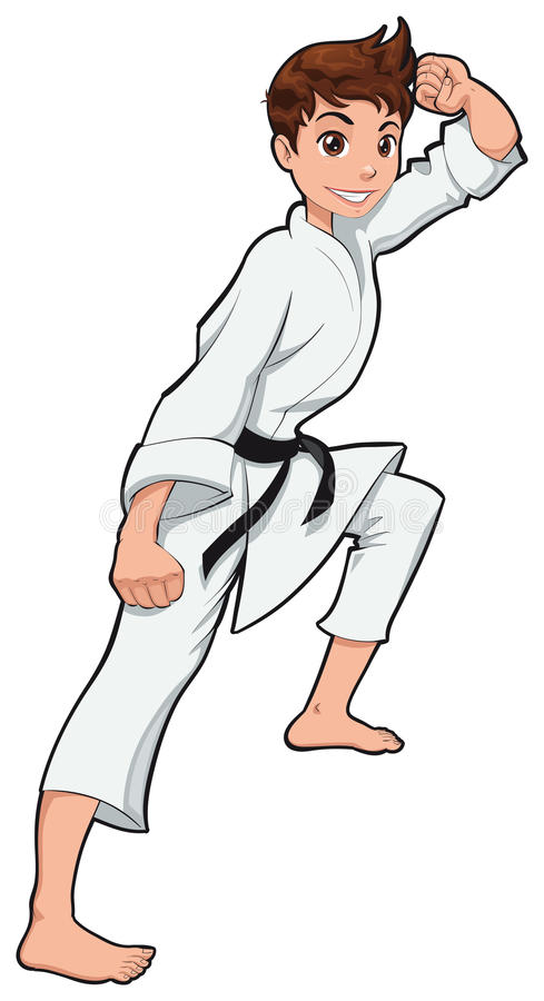 Young boy, Karate Player. Vector cartoon isolated character royalty free illustration