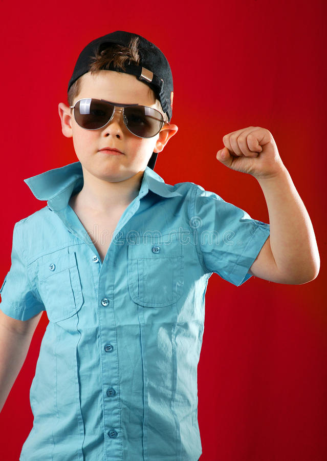 Young boy keep hand fist stock photography