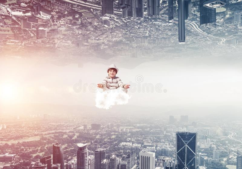 Young boy keeping mind conscious. stock images