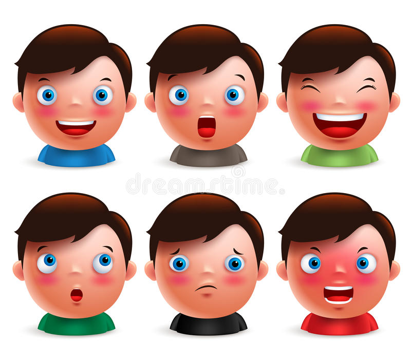 Young boy kid avatar facial expressions set of cute emoticon heads vector illustration
