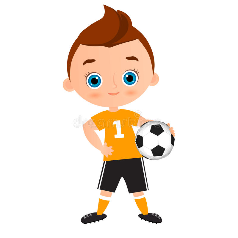 Young Boy. Kid playing football. Vector illustration eps 10 isolated on white background. Flat cartoon style. vector illustration