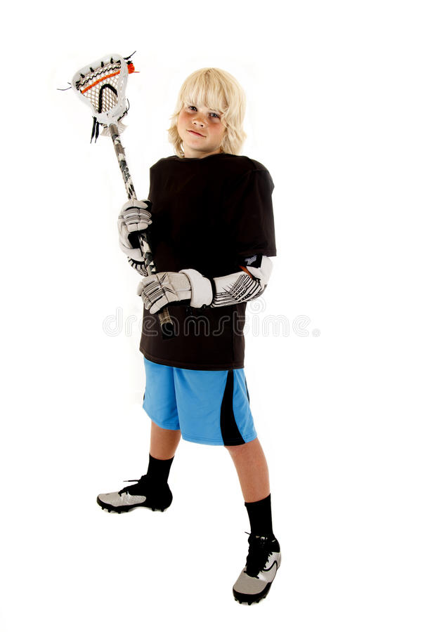 Download Young Boy In Lacrosse Outfit With Stick Ready To Play Stock Images - Image: 33152794