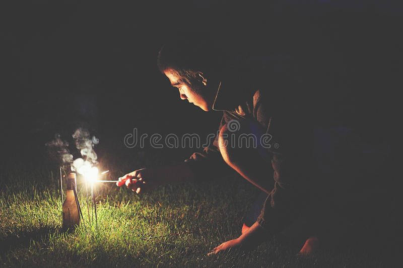 Young Boy Lighting Fireworks Free Public Domain Cc0 Image