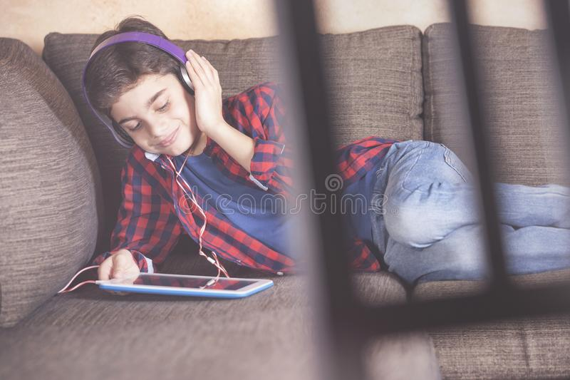 Kids and technology concept stock photos