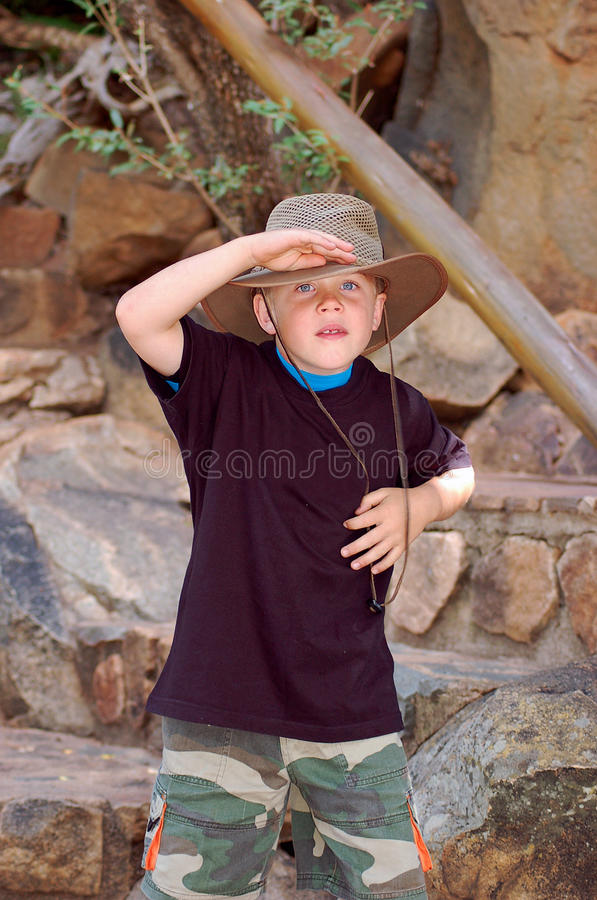 Young Boy on the lookout royalty free stock images