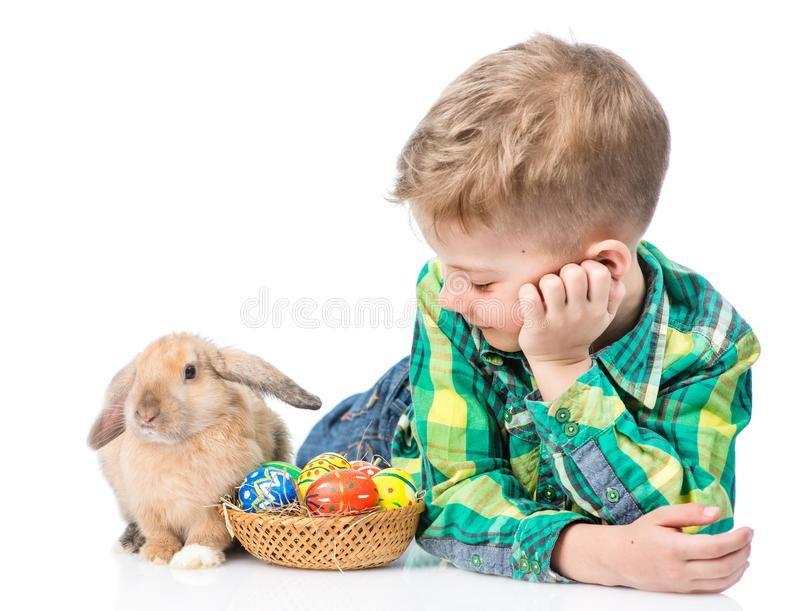 Young boy lying with easter eggs and rabbit. Isolated on white royalty free stock photos