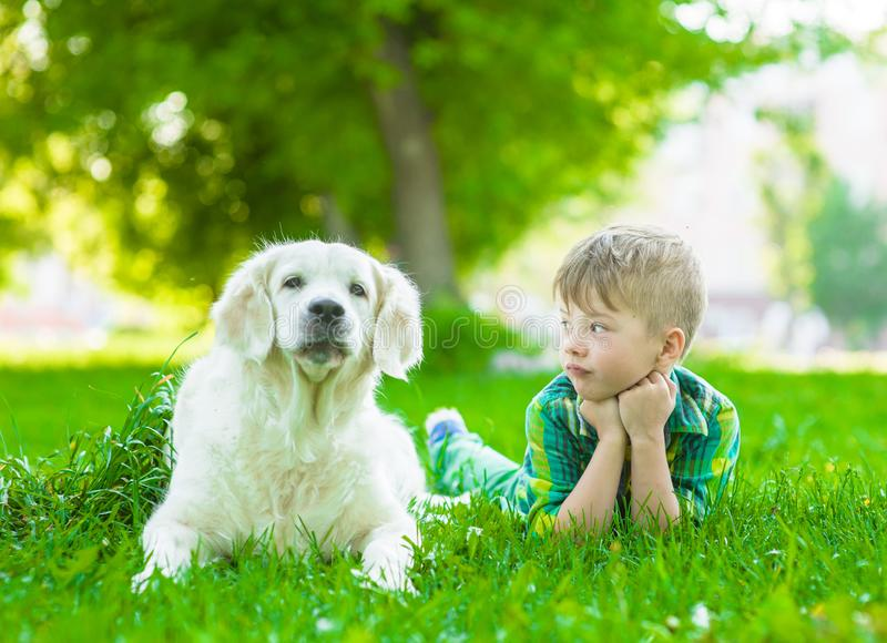 Young boy lying with golden retriever dog on green grass stock image