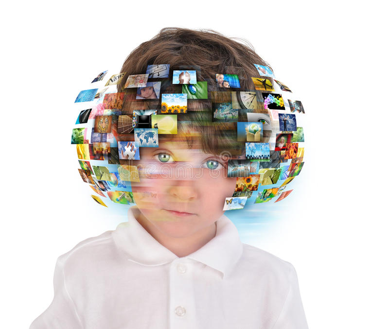 Young Boy with Media Images. A young boy has different media images around his head on a white background. Use it for an education or television concept
