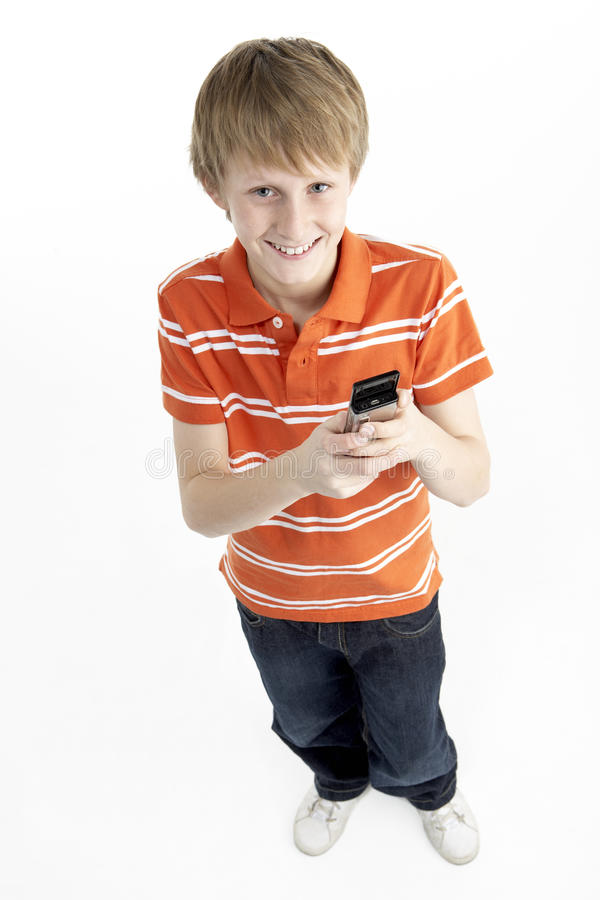 Download Young Boy With Mobile Phone Stock Photo - Image: 10002648