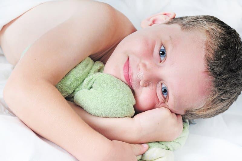 Young boy at naptime royalty free stock photos
