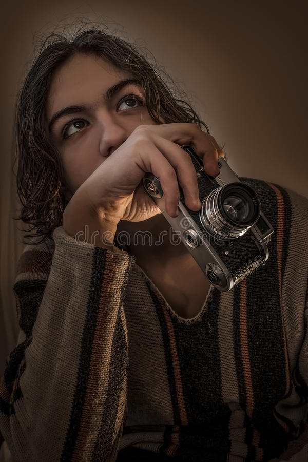Young boy with old Russian camera royalty free stock photos