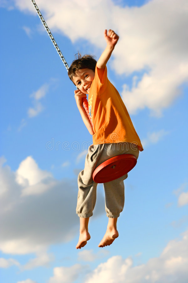 Free Young Boy On Chain Swing Stock Photos - 3151173