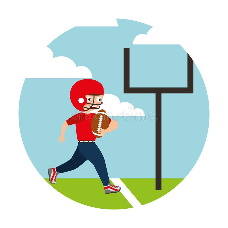 Young boy playing american football royalty free illustration