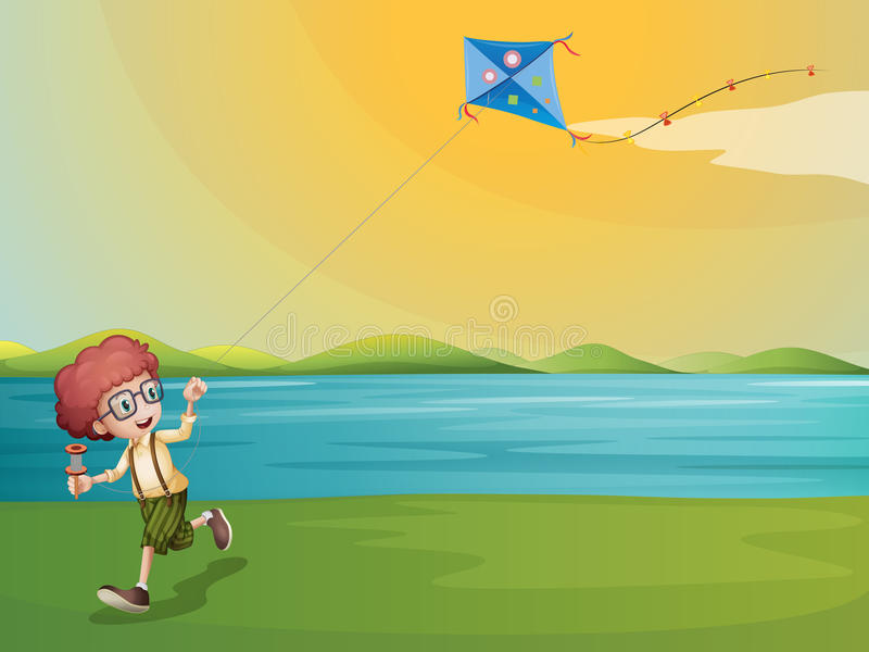 A young boy playing with his kite at the riverbank stock illustration