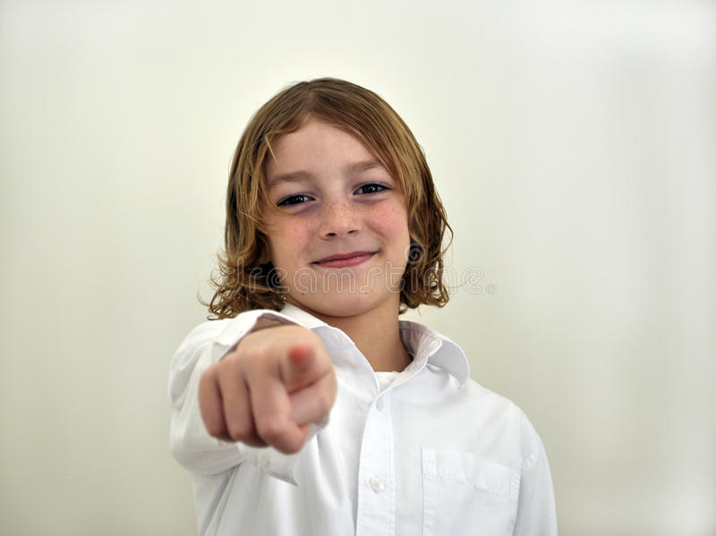 Download Young boy pointing stock image. Image of clever, living - 12382551