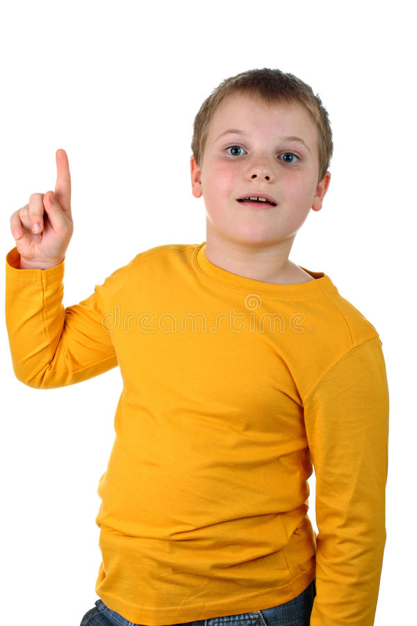 Young boy points his finger up isolated on white royalty free stock photos