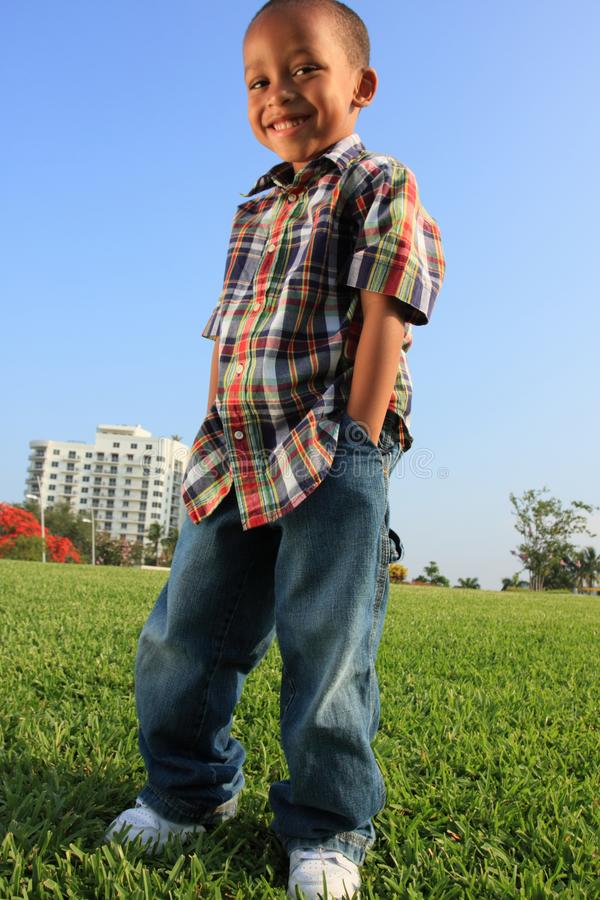 Young Boy Posing on the Grass royalty free stock photography