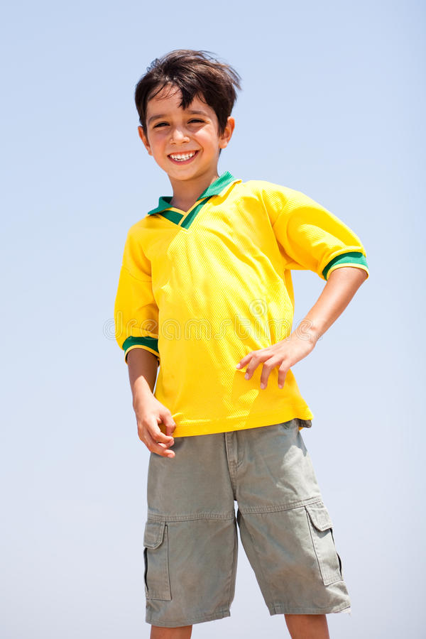 Young Boy posing to the camera stock photo